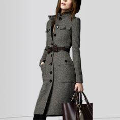 2014 new winter women fashion brand high quality runway british style Slim Long thick tweed classic