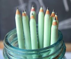 Cute and nice mint green pencils
