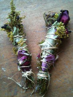 HAND+VASTEN+en+bruiloft+smudge+stokje+met+kruiden+bloemen+en