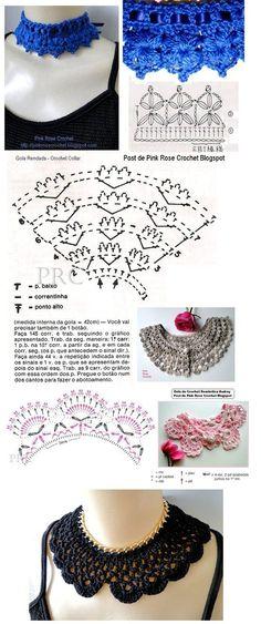 Crochet lace collar pattern free knitting ideas for 2019 Crochet Collar Pattern, Col Crochet, Crochet Lace Collar, Crochet Diy, Crochet Diagram, Crochet Chart, Thread Crochet, Crochet Stitches, Crochet Patterns