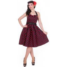 Červené Retro Šaty Blanka Straka Dolly and Dotty Robes Pin Up, Polka Dots, Retro, Sexy, Model, Venus, Vintage, Black, Articles