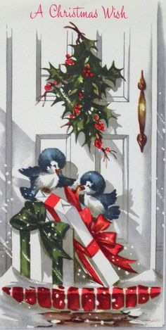 #173 50s Happy Bluebirds on the Porch! Front Door-Vtg Christmas Card-Greeting