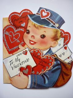 Vintage 1950s Valentine Card Mailman Boy with Glitter Embellishment by DimeStoreDarlings on Etsy