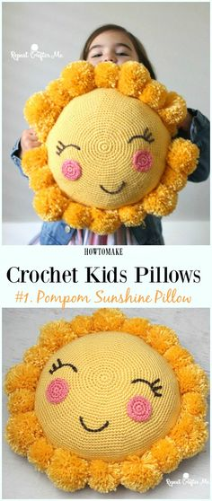 Crochet Pompom Sunshine Pillow Free Pattern -Fun #Crochet Kids #Pillows Free Patterns
