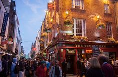 Temple Bar, Dublin. Our favorite place with fantastic live music, beer gardens, and lots of people. Summer 2013