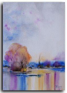 Original watercolor painting ready for shipping  SIZE: 9X12 Title: Purple Reflection I   MEDIUM: watercolor ARTIST: Tatjana Ruzin MATERIAL: