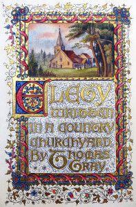 Thomas Gray's Elegy Written in a Country Churchyard, illuminated by Sidney Farnsworth in 1910.
