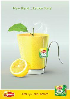 Lipton Clear Green Tea print ad, 'New Blend...Lemon Taste' depicts tea mug with tea leaf rising from cup like a plant, c. 2000s