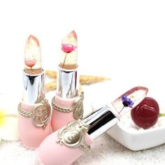 Moisturizer Long-lasting Jelly Flower Lipstick Makeup Temperature Chan — Plus Minus Co. Jelly Lipstick, Sheer Lipstick, Makeup Lipstick, Makeup Cosmetics, Matte Lipstick, Lipsticks, Color Changing Lipstick, Lipstick Colors, Lip Colors