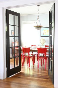 tomato red chairs