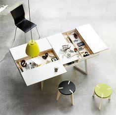cool workspace storage hidden storage, storage spaces, architecture interiors, offic, desks, craft tables, furnitur, design, workspac