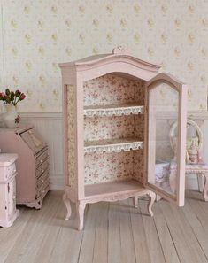 Dollhouse+Miniature+Pink+Dresser+Dolls+House+Hutch+Display
