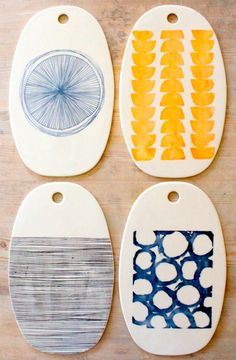 Mary and Cory Burrow; Screen-Printed Porcelain Cheese Trays for MB Art studios, 2010s.