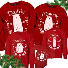 Items similar to Christmas Shirts. on Etsy Matching Family Christmas Pajamas, Matching Family Outfits, Christmas Shirts, Cute Bears, Personalized T Shirts, Sweatshirts, Pyjamas, Processing Time, Xmas