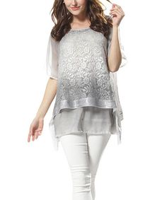 Another great find on #zulily! Gray Rose Lace Overlay Scoop Neck Top by Simply Couture #zulilyfinds