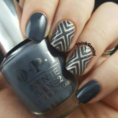 Set off a style explosion in this sophisticated steely-gray hue! Preen.Me Christine M designed this mod mani using her gifted OPI Infinite Shine 2 Nail Lacquer in The Latest and Slatest. Keep it on point for #11DaysStrong with the new OPI Infinite Shine ProStay Primer and Gloss.