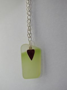 Recycled glass pendant with red heart charm on chain by SesGeeArt on Etsy