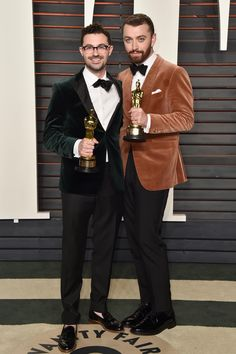 James Napier and Sam Smith at the 2016 Vanity Fair Oscar Party. Photo: Pascal Le Segretain/Getty Images.