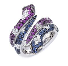 "Pink Sapphire, Blue Sapphire, & Diamond ""Dancing Snakes"" Ring"