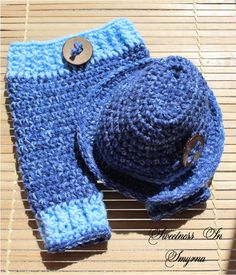 Baby Pants with Matching Fedora - Crochet Baby Hat with Matching Pants - Denim Blue - Newborn Photo Prop Set - Pork Pie Hat. $44.99, via Etsy.
