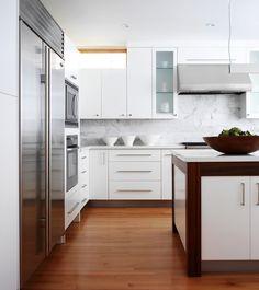 contemporary wood + white island