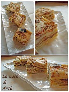 Finger lasagne con ragù leggero e melanzana