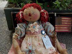 "Handmade Raggedy Ann Doll Vintage Fabrics Flag Americana Cloth 24"" | eBay"
