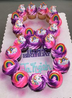 20 Cupcakes Shaped In Number Creator Of These Cupcakes Is LaQuishia McCraney. Number Birthday Cakes, 18th Birthday Cake, Cupcake Birthday Cake, Birthday Cake Girls, Cupcake Cakes, Unicorn Birthday, Cup Cakes, Pull Apart Cupcake Cake, Pull Apart Cake
