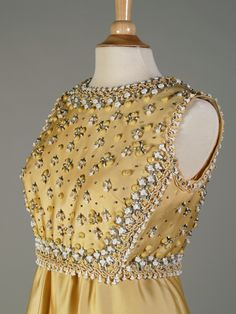 Yellow evening dress with embroidered bodice, Pierre Balmain, French, ca. 1960s, KSUM 1990.11.13.