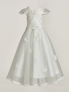Lace Edge Cap Sleeves Flowers Baby Girl's Christening Gown : Tidebuy.com Kids Party Frocks, Christening Gowns For Girls, Headpiece, Cap Sleeves, Tulle, Flower Girl Dresses, Wedding Dresses, Lace, Appliques