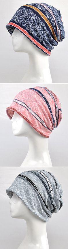 US$ 6.98 Women Flowers Cotton Skullies Beanies Cap Casual Warm Bonnet Hat Multifunction Towel
