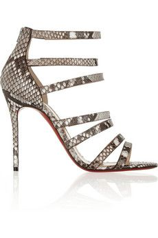 Christian Louboutin Mariniere 100 glossed-python sandals | NET-A-PORTER