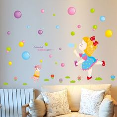 DIY Bubble Girl PVC Stickers Wall Sticker Lovely Cartoon Aimal for Kids Room Home Decal Wall Decor Girl Room Poster Wallpaper