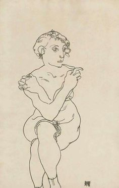 Egon Schiele - Seated female nude, arms and legs crossed, 1918. Black crayon on paper, 18 1/2 x 11 3/4 in. (47 x 29.8 cm).