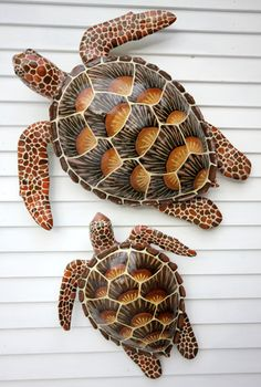 Hawksbill Turtles | Rachel Laundon Art | Vermont Artist - These Hawksbill turtles are built from wood & clay then painted with acrylics.
