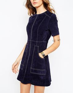 Image 3 ofASOS A-Line Suede Dress with Contrast Stitch