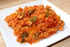 Paradicsomos-csirkés bulgur Crossfit Diet, Meat Recipes, Cooking Recipes, Good Food, Yummy Food, Creative Food, Fried Rice, Food And Drink, Healthy