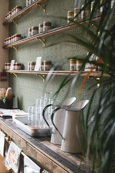 Must have a think about how we could do self-service water (Meat & Bread, Vancouver) Cafe Interior, Interior Exterior, Interior Design, Commercial Design, Commercial Interiors, Cafe Restaurant, Restaurant Design, Cafe Design, House Design