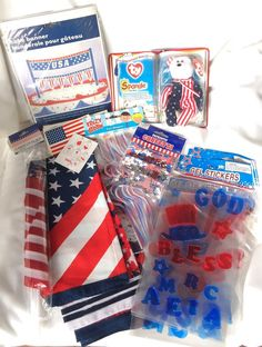 4th July Gel Clings Window Spangle Bandanas Flags Confetti Star Crazy Straw LOT  #USAPatrioticSupplies
