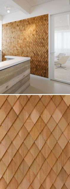 Using Wood Shingles To Create An Accent Wall Adds Warmth And Texture To An Interior Interior Design Idea - In this contemporary office interior, the designers used wooden shingles on various wall panels to act as accent walls and to help create texture in