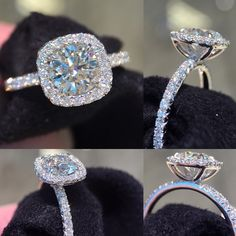 Cushion halo engagement ring #cushionhalo #diamond #engagementring…