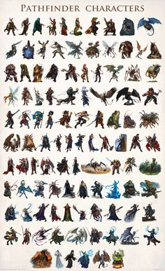 Paizo Pathfinder characters 001-105 by DevBurmak on deviantART chart | Create your own roleplaying game material w/ RPG Bard: www.rpgbard.com | Writing inspiration for Dungeons and Dragons DND D&D Pathfinder PFRPG Warhammer 40k Star Wars Shadowrun Call of Cthulhu Lord of the Rings LoTR + d20 fantasy science fiction scifi horror design | Not Trusty Sword art: click artwork for source