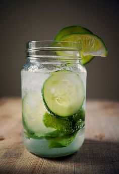 Cucumber Mojito Recipe- mint, lime, cucumber, simple syrup, rum, club soda