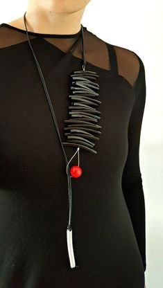 Chunky statement necklace Long statement necklace Avant-garde