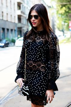Beautiful hair. outfit. everything.  Dolce & Gabbana lace + stars