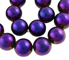 14 strand 6mm Round Glass Beads with PURPLE by SmartParts on Etsy, $1.99