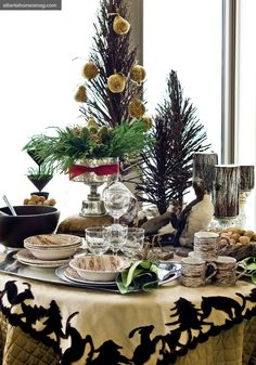 Beautiful Holiday Table! what a punch the small trees make!
