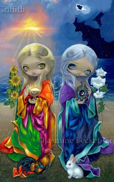 Sun Child and Moon Child big eye art by Jasmine Becket-Griffith