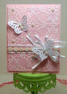 Pink embossed w/white butterflies & pearls