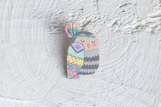 Owl wooden brooch - Tribal owl